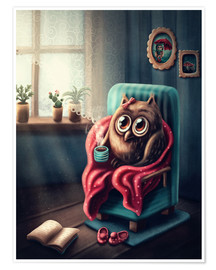 Premium-plakat Owl with a cup of coffee