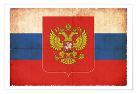 Premium-plakat  Old flag of Russia with coat of arms in grunge style - Christian Müringer