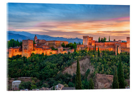 Akrylbillede  Red Alhambra in the Evening - Jürgen Feuerer