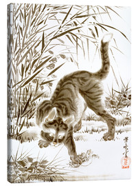 Lærredsbillede  Cat Catching a Frog - Kawanabe Kyosai