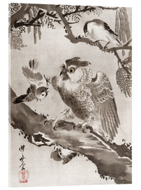 Akrylbillede  Owl Mocked by Small Birds - Kawanabe Kyosai