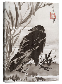 Lærredsbillede  Crow and Reeds by a Stream - Kawanabe Kyosai