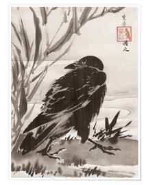 Premium-plakat  Crow and Reeds by a Stream - Kawanabe Kyosai