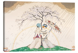 Lærredsbillede  Two women sheltering from the rain, under a tree - Georges Barbier