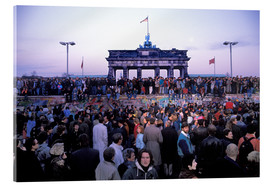 Akrylbillede  Berliners celebrate the opening of the border