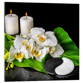 Akrylbillede  Spa concept with candles and orchids