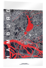 Akrylbillede  Hamburg city map midnight - campus graphics