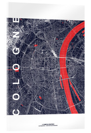 Akrylbillede  City of Cologne Map midnight - campus graphics