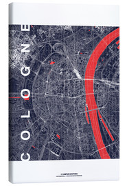 Lærredsbillede  City of Cologne Map midnight - campus graphics
