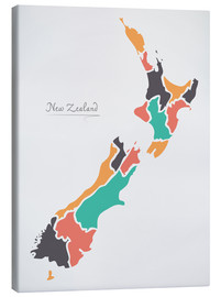Lærredsbillede  New Zealand map modern abstract with round shapes - Ingo Menhard
