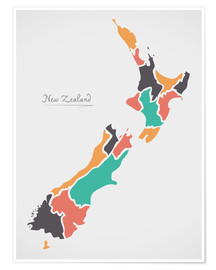 Premium-plakat New Zealand map modern abstract with round shapes