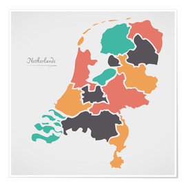 Premium-plakat Netherlands map modern abstract with round shapes