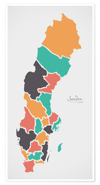 Premium-plakat Sweden map modern abstract with round shapes