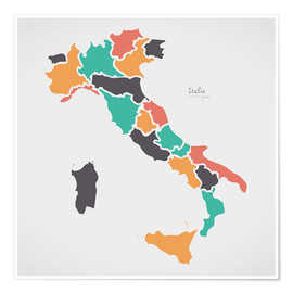 Premium-plakat Italy map modern abstract with round shapes