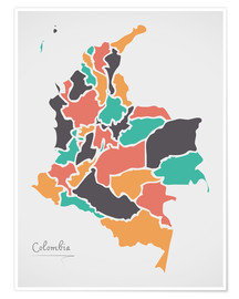 Premium-plakat Colombia map modern abstract with round shapes