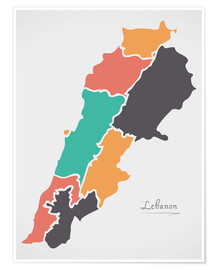 Premium-plakat Lebanon map modern abstract with round shapes