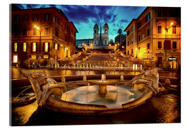 Akrylbillede  Spanish Steps and Fontana della Barcaccia in Rome