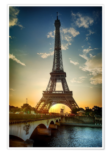 Premium-plakat Eiffel Tower and Pont d'Iena on Seine in Paris