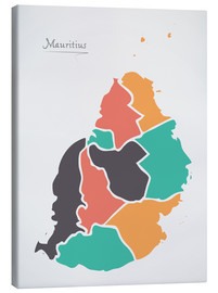 Lærredsbillede  Mauritius map modern abstract with round shapes - Ingo Menhard