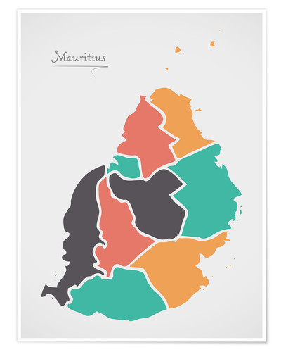 Premium-plakat Mauritius map modern abstract with round shapes