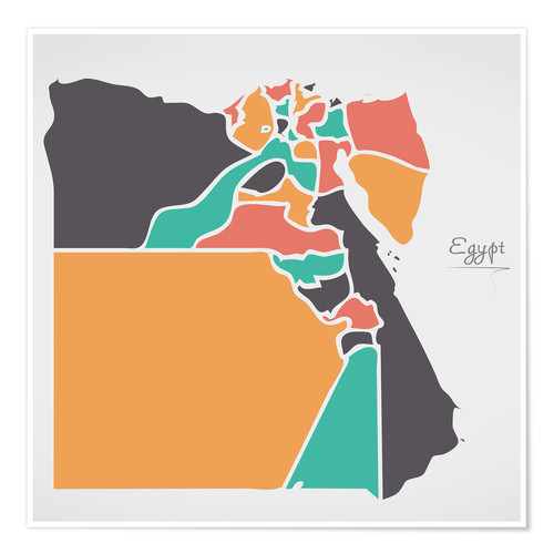 Premium-plakat Egypt map modern abstract with round shapes