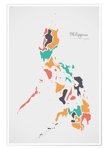 Premium-plakat Philippines map modern abstract with round shapes