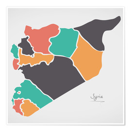 Premium-plakat Syria map modern abstract with round shapes