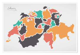 Premium-plakat Switzerland map modern abstract with round shapes