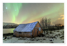 Premium-plakat Aurora Borealis on typical Rorbu, Svensby, Norway