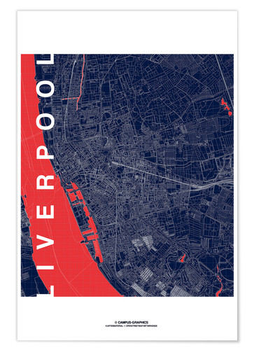Premium-plakat Liverpool Map Midnight City