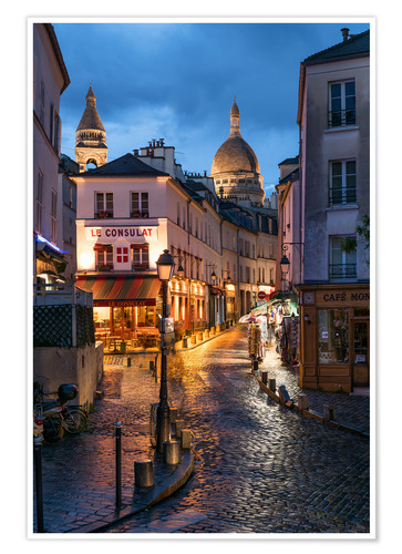Premium-plakat Street in Montmartre with Basilica of Sacre Coeur, Paris, France