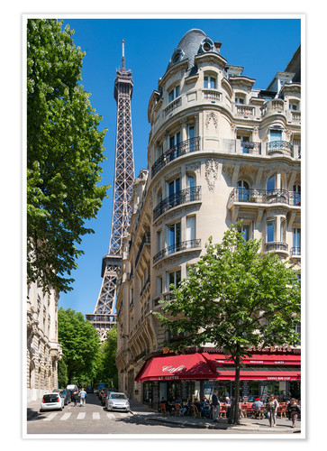Premium-plakat Eiffel tower with street cafe in Paris, France
