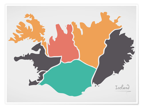 Premium-plakat Iceland map modern abstract with round shapes