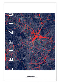 Premium-plakat Leipzig Map Midnight city