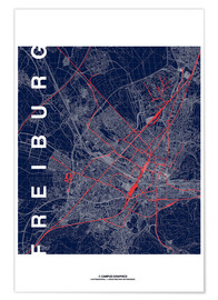 Premium-plakat Freiburg Map Midnight City
