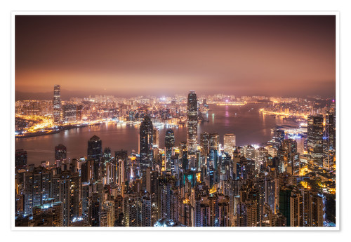 Premium-plakat Hong Kong lights in the morning