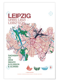 Premium-plakat Leipzig map city motive