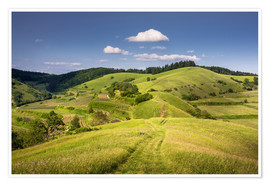 Premium-plakat Hills and clouds in summer, Kaiserstuhl, Germany