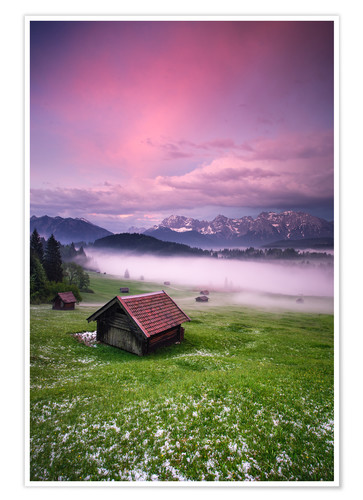 Premium-plakat Sunset in the Alps, Germany, Karwendel