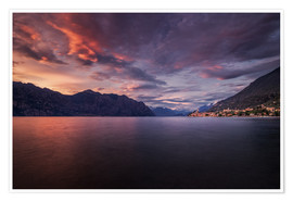 Premium-plakat Sunset at Lake Garda with view on Malcesine