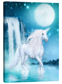 Lærredsbillede  Unicorn - Waterfalls and Moon - Dolphins DreamDesign