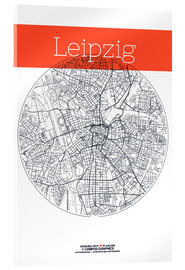 Akrylbillede  Leipzig map circle - campus graphics