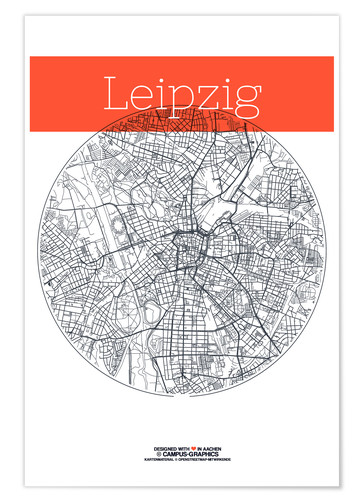 Premium-plakat Leipzig map circle
