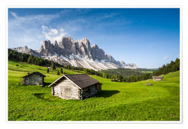 Premium-plakat Alpine hut, Caseril Alm, Funes Valley, South Tyrol, Italy
