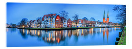 Akrylbillede  Panoramic of Lubeck reflected in river Trave, Germany - Roberto Sysa Moiola