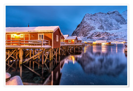 Premium-plakat Dusk on typical Rorbu, Reine, Norway