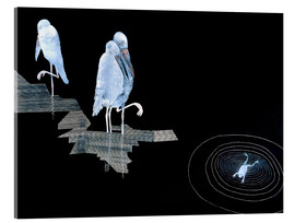 Akrylbillede  Three Storks and a Frog in a Pond - Jean Dunand