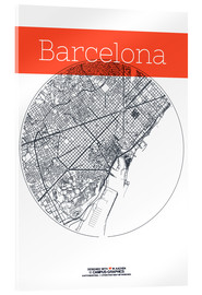 Akrylbillede  Barcelona map circle - campus graphics
