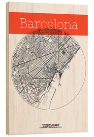 Print på træ  Barcelona map circle - campus graphics