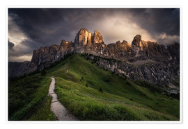 Premium-plakat Sunset at the Passo Gardena, Dolomites, Italy